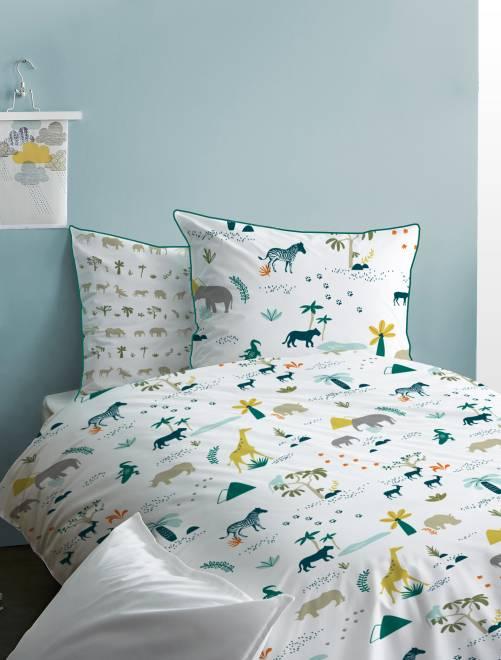 Parure de lit réversible 'safari'                             blanc Linge de lit