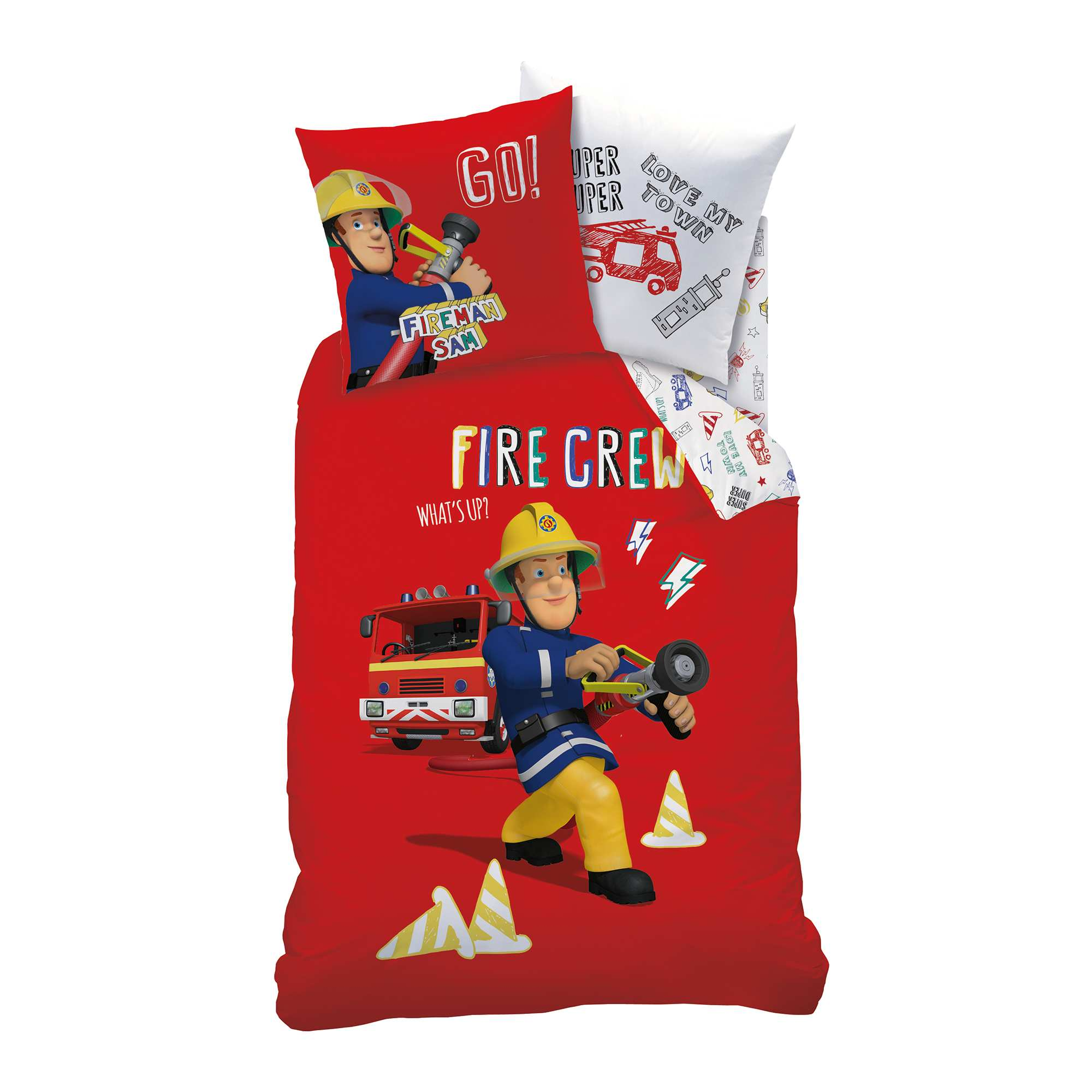 Couleur : rouge, , ,, - Taille : 140x200, , ,,En avant pour de nouvelles aventures en compagnie de 'Sam le Pompier' ! - Parure de