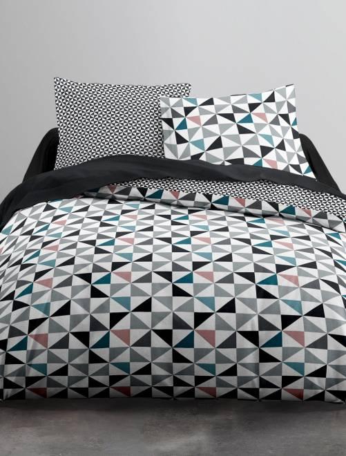 Parure de lit triangles blanc linge de lit