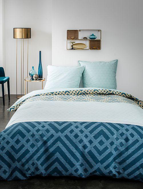 Parure de lit tricolore                             bleu
