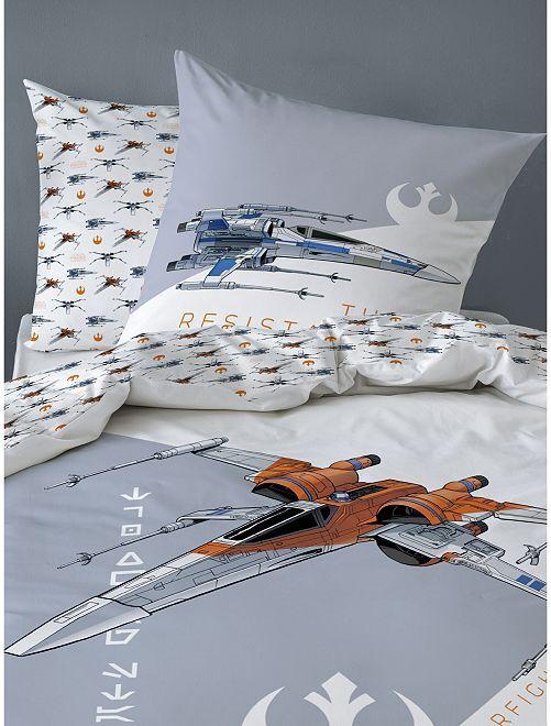 Parure de lit une place 'Star Wars' réversible                             blanc/gris