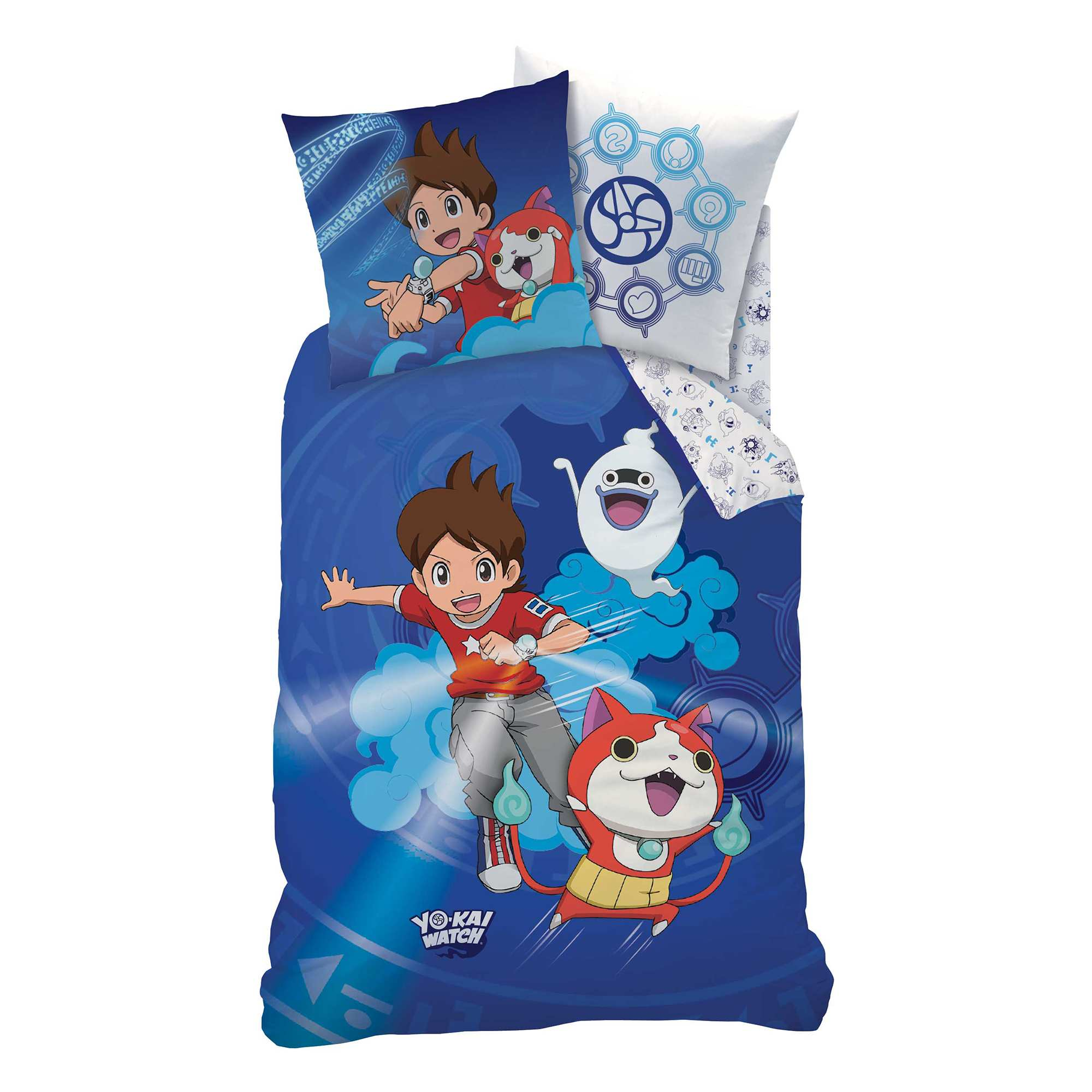 parure de lit 39 yo kai watch 39 linge de lit bleu kiabi 35 00. Black Bedroom Furniture Sets. Home Design Ideas