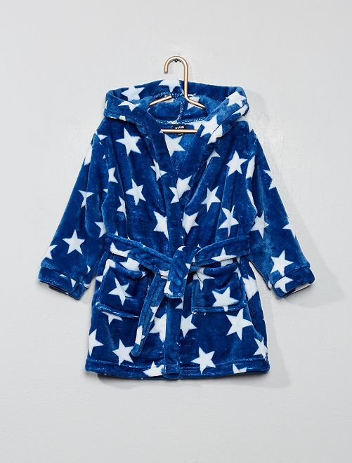 Peignoir à capuche en polaire imprimé 'étoiles'                                         bleu