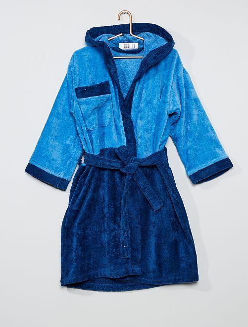 Peignoir de bain bicolore                             bleu