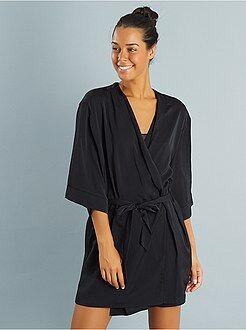Robe de chambre femme noir pas cher
