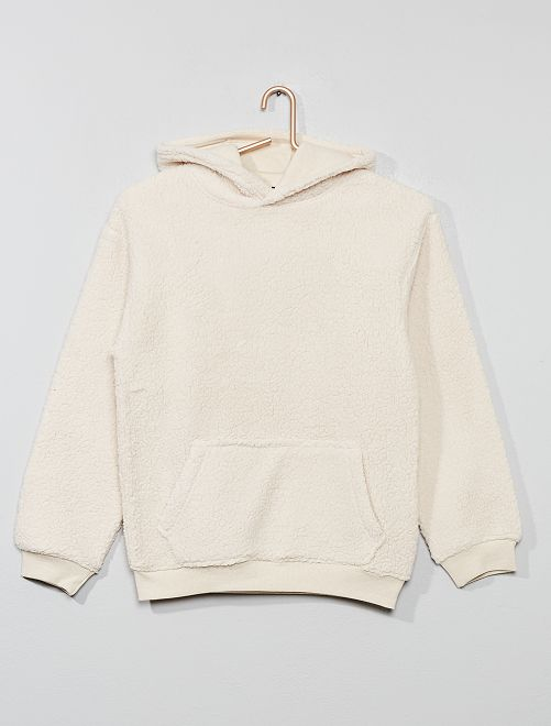 Peignoir forme sweat en sherpa                             beige