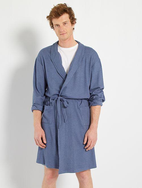 Peignoir maille gaufrée                                         bleu gris