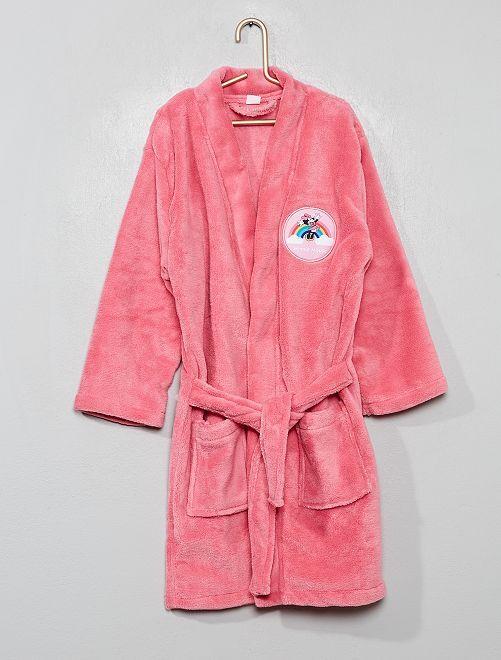 Peignoir 'Minnie' en maille polaire                             rose
