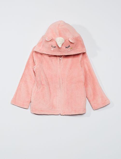 Peignoir zippé 'licorne'                                         rose