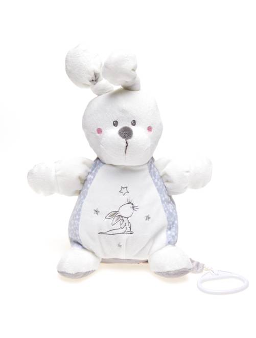 peluche lapin musicale b b gar on blanc gris kiabi 13 00. Black Bedroom Furniture Sets. Home Design Ideas