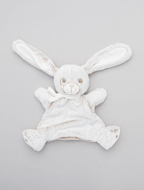 Peluche marionnette doudou 'lapin'                             beige