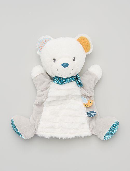 Peluche marionnette 'ours'                             gris/blanc