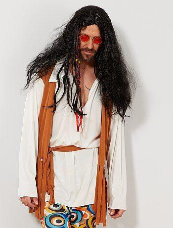 Homme - Perruque 2 tresses avec mèches de couleurs + perles - Kiabi