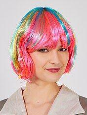 Perruque carré à frange multicolore