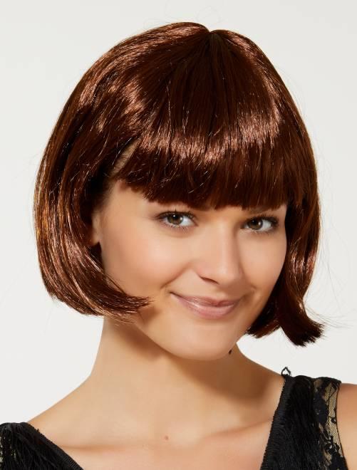 Perruque courte avec frange                                                                                                      marron chocolat