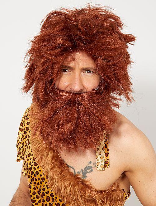 Perruque et barbe homme Cro-Magnon                             marron