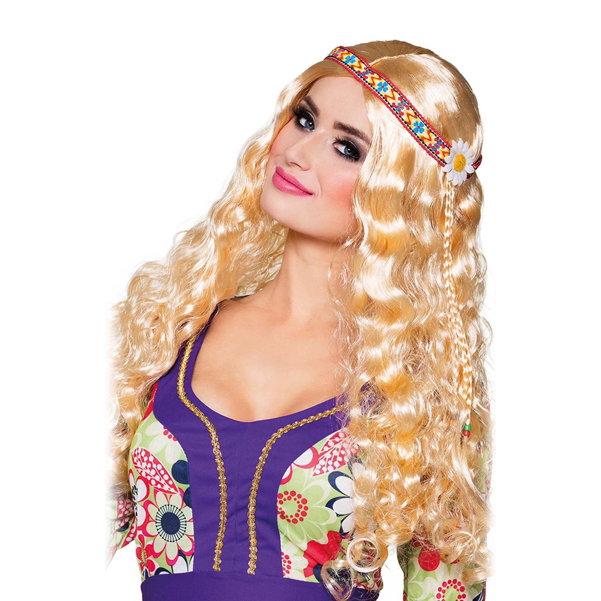 Couleur : blond, , ,, - Taille : TU, , ,,Perruque adulte blonde avec bandeau multicolore.