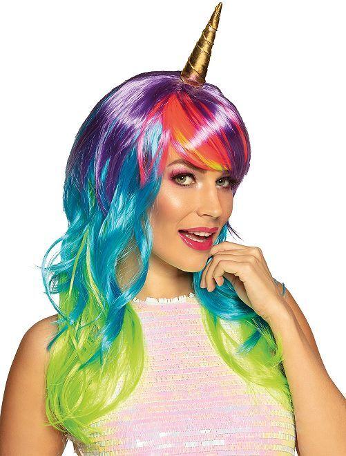 Perruque 'licorne'                             multicolore