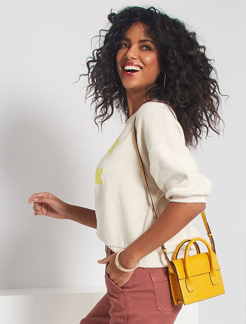 Petit sac à main effet croco                                         jaune