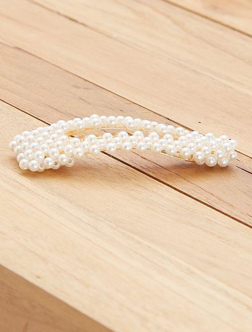 Pince à cheveux en perles                             blanc