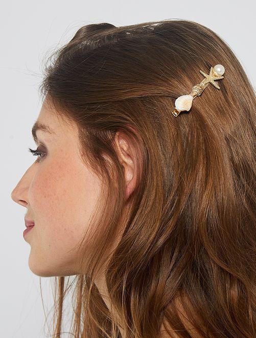 Pinces à cheveux coquillages                             doré