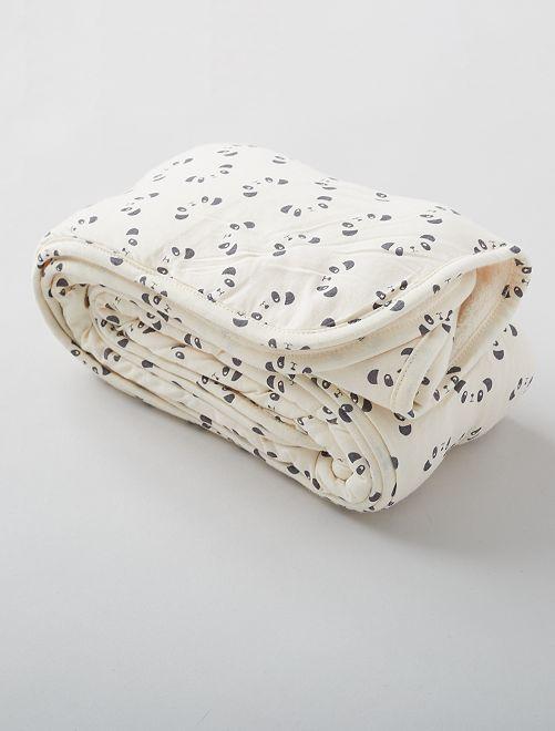 Plaid motif 'panda'                                         BLANC
