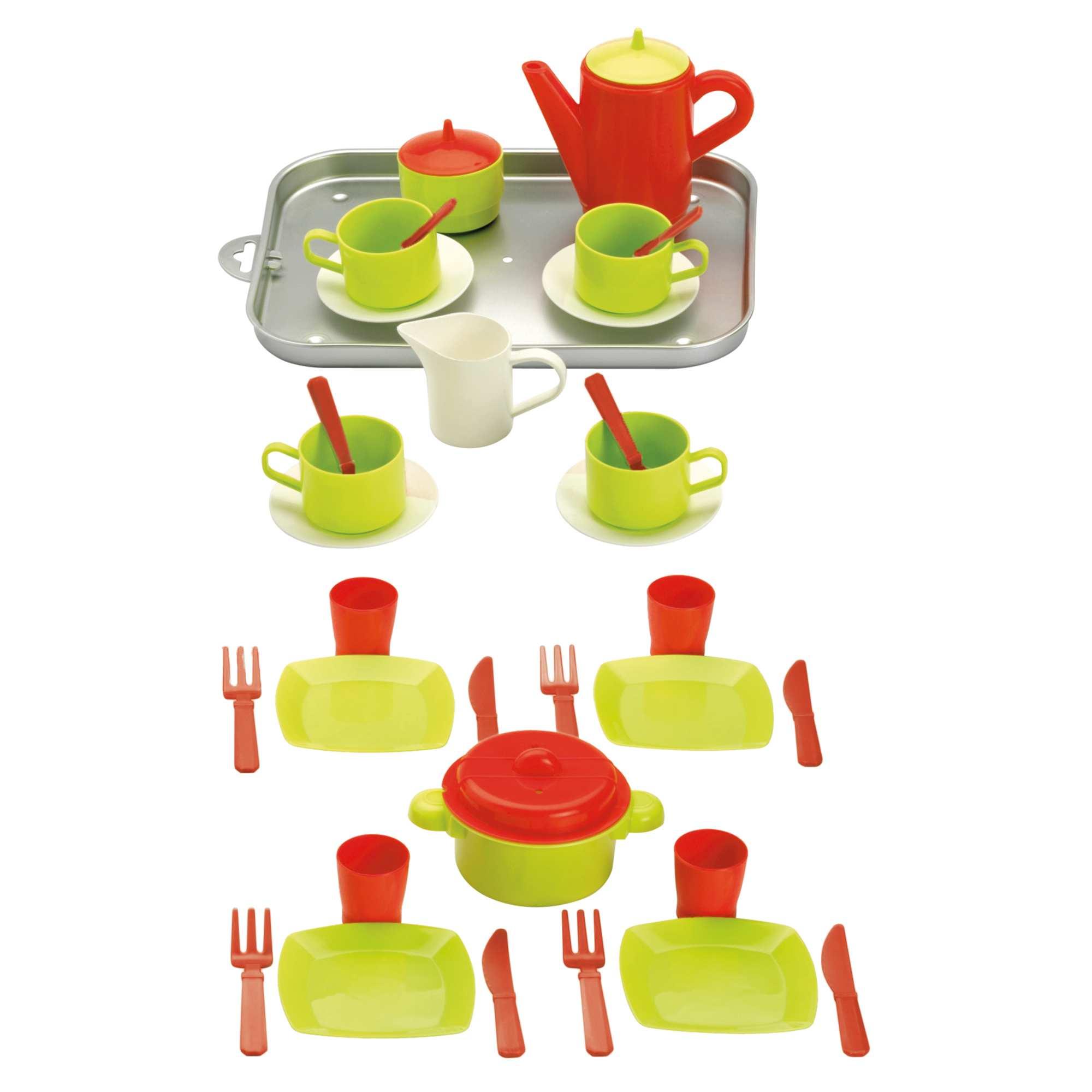 Couleur : vert/rouge, , ,, - Taille : TU, , ,,Un set complet pour jouer à la dinette. - Comprend 4 tasses, 4 sous-tasses, 4