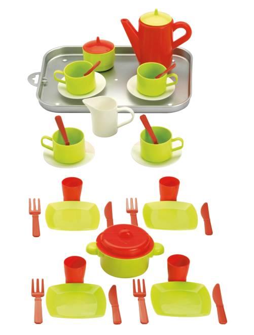 Plateau dinette 20 pièces                             vert/rouge