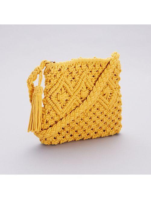Pochette bandoulière en crochet                                         jaune