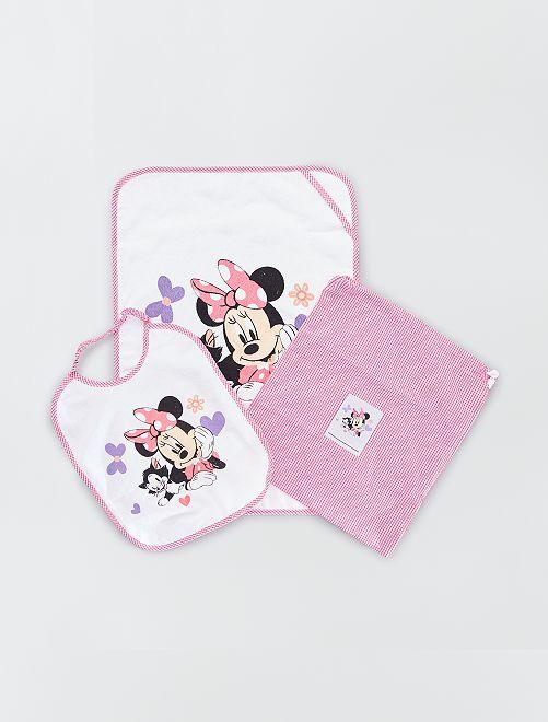 Pochette drap de bain bavoir 'Minnie Mouse' Disney                             rose