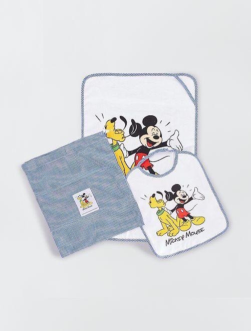 Pochette drap de bain et bavoir 'Mickey Mouse'                             bleu