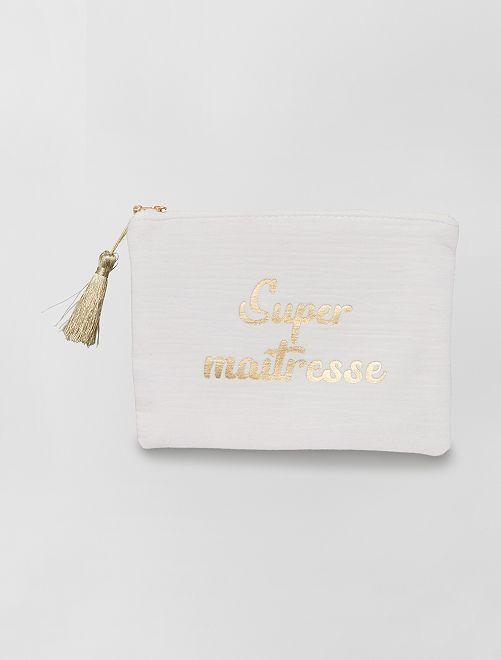 Pochette zippée message                             beige