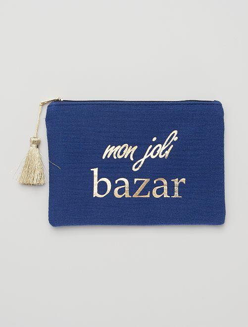 Pochette zippée message                                                                 bleu