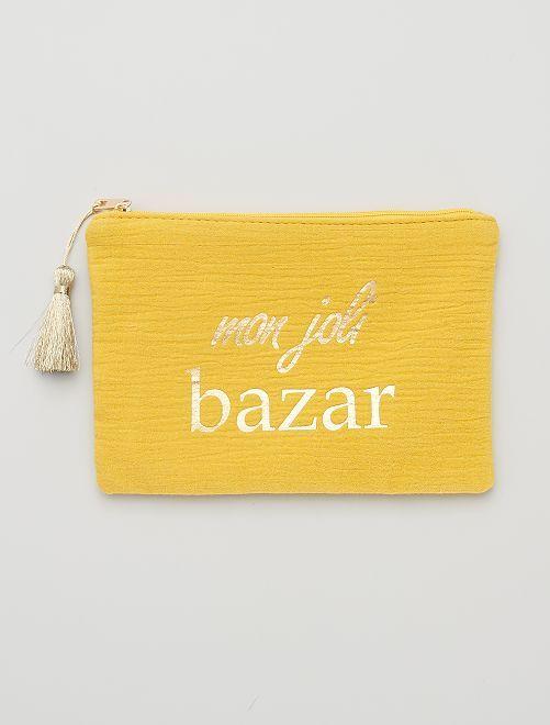Pochette zippée message                                                                 jaune