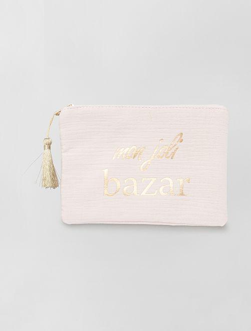 Pochette zippée message                                                                 rose