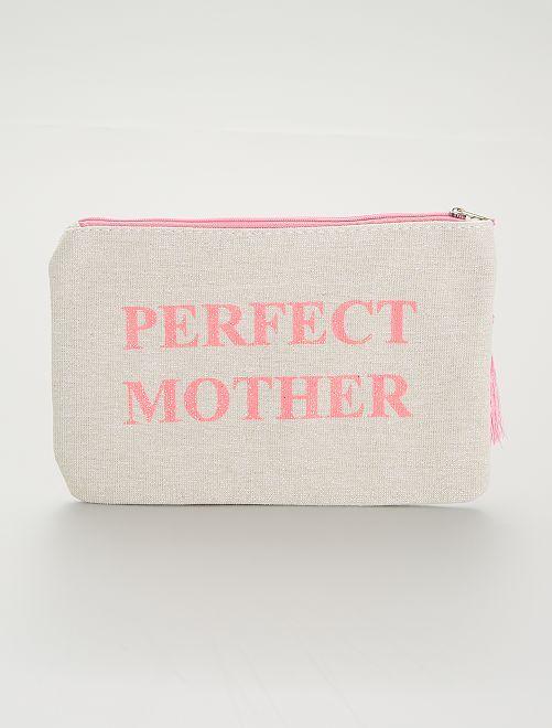 Pochette zippée 'Perfect Mother'                     beige/rose