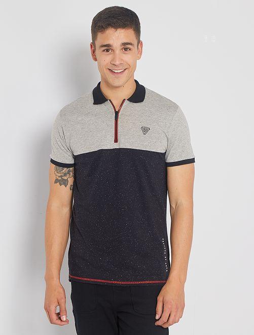 Polo à col zippé bicolore                             gris/bleu