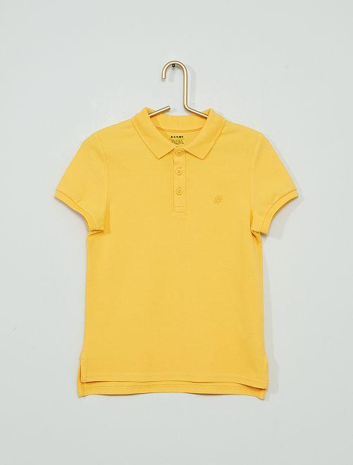 Polo brodé éco-conçu                                                                                         jaune crème