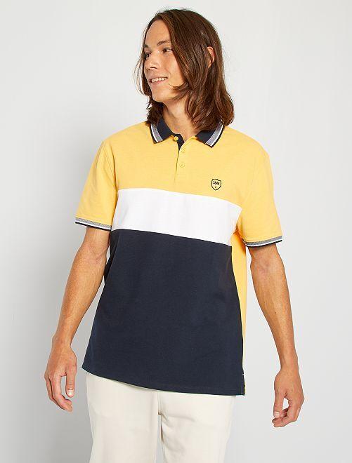 Polo color block logo brodé                                                                 jaune/blanc/bleu marine