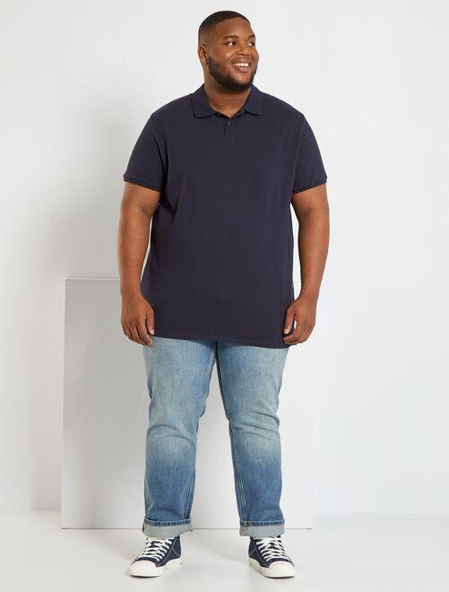 Polo comfort piqué de coton                                                                                                                                                     bleu marine Grande taille homme