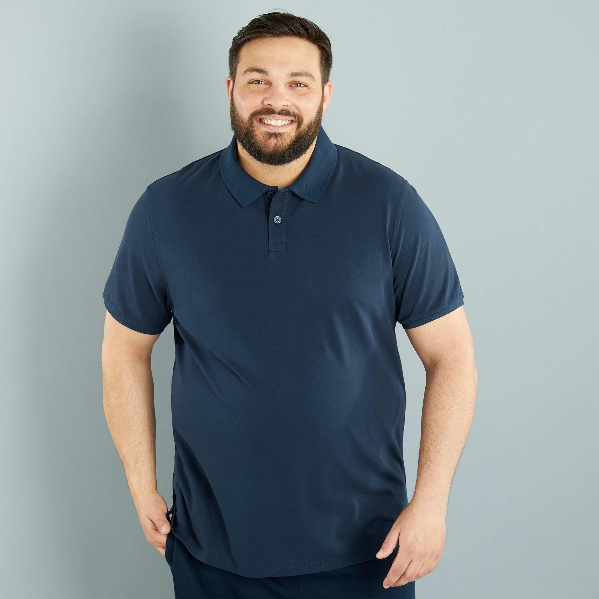 Couleur : bleu marine, noir, bleu roi,gris chiné,orange - Taille : 5XL, 4XL, 3XL,6XL,Un basique revisité en coupe large pour plus de confort. - Polo en piqué de coton