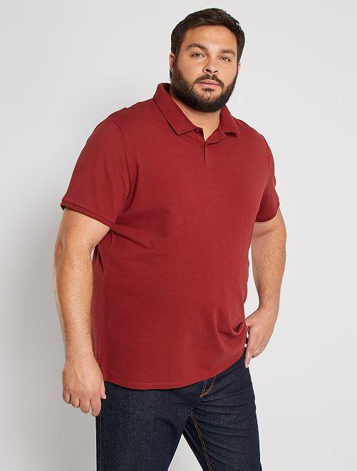 Polo comfort piqué de coton                                                                                                     rouge foncé