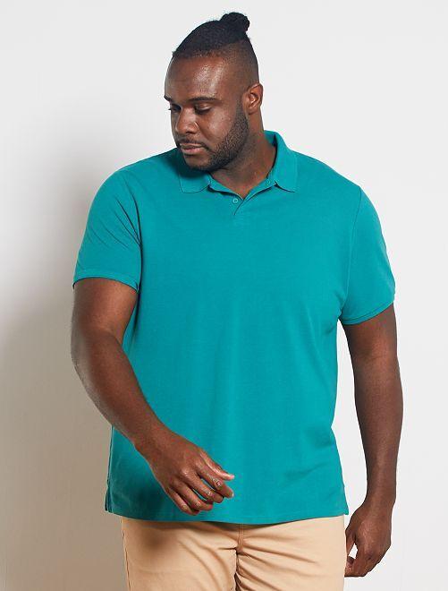 Polo comfort piqué de coton                                                                 vert bleu