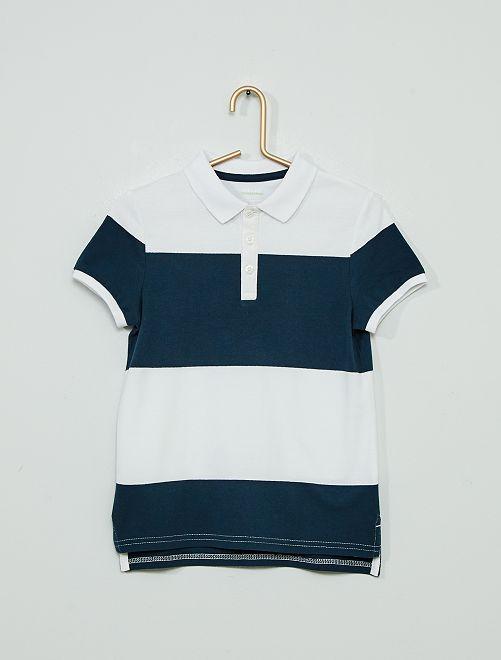 Polo coton éco-conçu                                                                             blanc/bleu