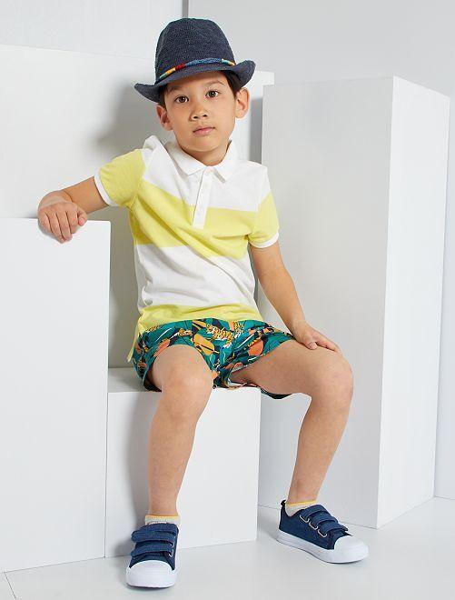 Polo coton éco-conçu                                                                 blanc/jaune