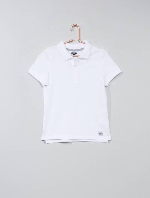 Polo en coton piqué                     blanc