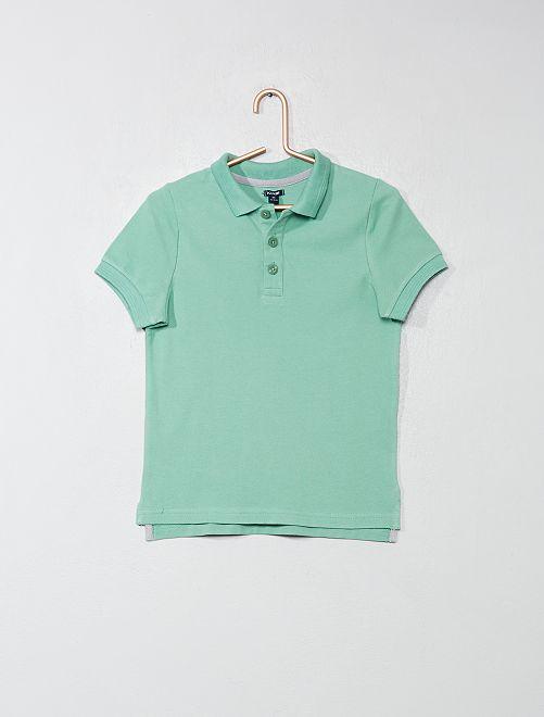 Polo en coton piqué                                                                                         vert Garçon