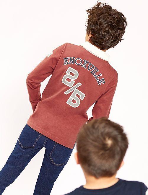 Polo en jersey à patchs                                         rouge brique