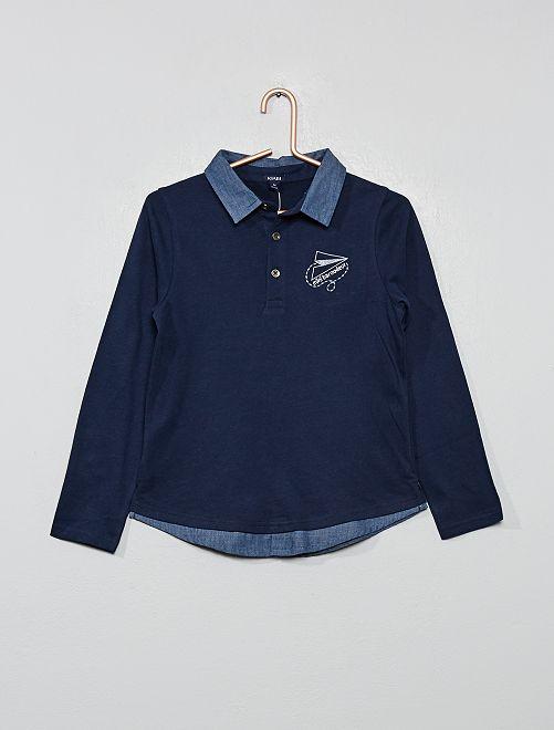 Polo en jersey                                         bleu marine