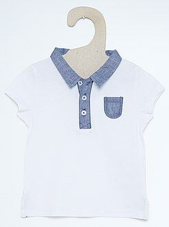 Polo en jersey col chambray